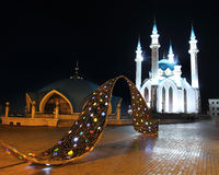Kul sharif mosque in kazan kremlin at night Royalty Free Stock Images