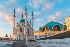 Kul-Sharif mosque in Kazan Kremlin At sunset in Tatarstan, Russia. Kul-Sharif mosque in Kazan Kremlin in Tatarstan, Russia royalty free stock photography