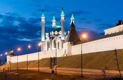 Kul-Sharif mosque in Kazan Kremlin in Tatarstan at night , Russia. Kul-Sharif mosque in Kazan Kremlin in Tatarstan, Russia royalty free stock photo