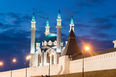 Kul-Sharif mosque in Kazan Kremlin in Tatarstan at night , Russia. Kul-Sharif mosque in Kazan Kremlin in Tatarstan, Russia stock photo