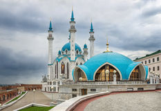 Kul Sharif. Mosque in Kazan Kremlin under clouds Royalty Free Stock Images