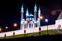 Kul-sharif mosque in the light of lanterns at night stock image