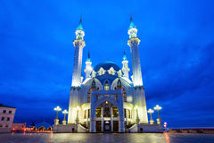 The Kul Sharif Mosque. At night. It is a one of the largest mosques in Russia.  is located in Kazan city in Russia royalty free stock images