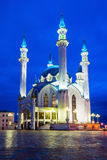 The Kul Sharif Mosque. At night. It is a one of the largest mosques in Russia.  is located in Kazan city in Russia royalty free stock photography