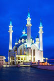 The Kul Sharif Mosque. At night. It is a one of the largest mosques in Russia.  is located in Kazan city in Russia royalty free stock image