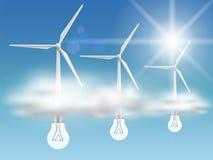 Kula-turbiner i molnen Arkivfoton