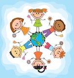Kula ziemska dzieciaki Dziecko Ziemski dzień wektor Obraz Royalty Free
