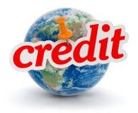 Kula ziemska i kredyt (ścinek ścieżka zawierać) Zdjęcia Royalty Free