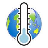 Kula ziemska i termometr, Zimna wektor ilustracja ilustracja wektor