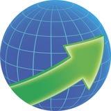 Kula ziemska i zieleni strzała Fotografia Stock
