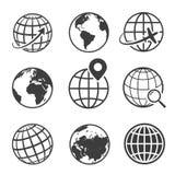 Kula ziemska i ziemia planetujemy czarnego ikona set royalty ilustracja