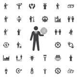 Kula ziemska na ręki ikonie ilustracja wektor
