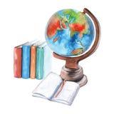 Kula ziemska, notatnik i podręczniki, pojedynczy białe tło Obrazy Stock