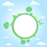 Kula ziemska otaczająca chmurami, niebem i drzewem, - wektor royalty ilustracja