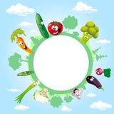 Kula ziemska otaczająca chmurami, niebem i warzywem, - wektor royalty ilustracja