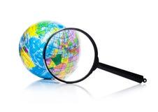 Kula ziemska pod powiększać - szklany Europa i Afryka Zdjęcie Royalty Free