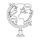 Kula ziemska różnorodna język ikona w konturu stylu odizolowywającym na białym tle ilustracja wektor
