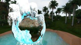 Kula ziemska wśród fontann nad oazą między palmami przy rankiem i zbiory