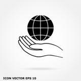 Kula ziemska w ręki ikonie Fotografia Stock