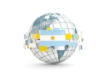 Kula ziemska z flaga Argentina odizolowywał na bielu Zdjęcia Stock