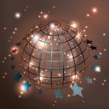 Kula ziemska z gwiazdami, abstrakcjonistyczny wektor Fotografia Royalty Free
