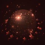 Kula ziemska z gwiazdami w czerwonym tle, abstrakcjonistyczny wektor Obrazy Stock
