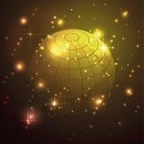 Kula ziemska z gwiazdami w złocistym tle, abstrakcjonistyczny wektor Zdjęcia Stock