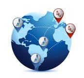 Kula ziemska z międzynarodowymi gospodarek sytuacjami ilustracji