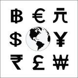 Kula ziemska z pieniądze cyklu symbolem Różnorodni waluta znaki bankowość ilustracja wektor