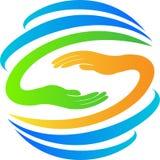 Kula ziemska z ręka logem Zdjęcia Royalty Free