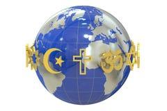 Kula ziemska z religia symbolami royalty ilustracja