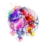 Kula ziemska zakrywająca z kolorowymi pluśnięciami Fotografia Stock