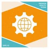 Kula ziemska ziemia wśrodku cog lub przekładni, ustawia parametry, Globalna opci ikona Obraz Royalty Free