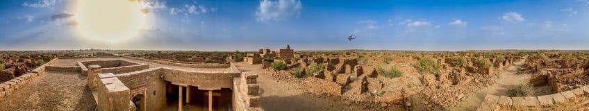Kuldhara (拉杰一个被放弃的&被诅咒的村庄全景  库存图片