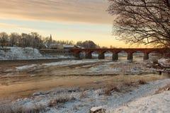 Kuldiga, Λετονία γέφυρα παλαιά Στοκ Εικόνες