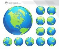 Kule ziemskie pokazuje ziemię z wszystkie kontynentami Cyfrowej kuli ziemskiej światowy wektor Kropkowany światowej mapy wektor Obrazy Royalty Free