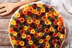 Kulebiak lat warzywa: marchewki, buraki, zucchini i oberżyna, Zdjęcia Royalty Free
