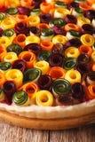 Kulebiak lat warzywa: marchewki, buraki, zucchini i oberżyna, Obraz Stock