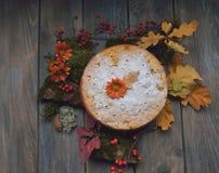 Kulebiak na liściach Zdjęcia Royalty Free