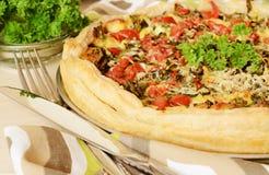 Kulebiak z szpinakiem, serem i pomidorami, Zdjęcia Stock