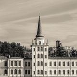 Kuleli military high school from Bosphorus, Istanbul, Turkey - December 2014 royalty free stock image