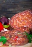 Kulen、牛肉和猪肉香肠 免版税库存照片