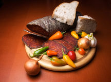 Kulen and spices stock photography
