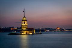 Kulesi башни или Kiz девушки после захода солнца Стоковые Фото