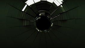 Kulhål i svart splittrat exponeringsglas Royaltyfri Foto