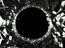 Kulhål och stycken av splittrat exponeringsglas Fotografering för Bildbyråer