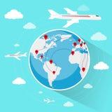 Kuli ziemskiej Światowej mapy podróży wakacje wycieczki rezerwaci powietrze royalty ilustracja