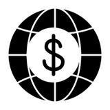 Kuli ziemskiej i dolar bryły ikona Globalna finansowa wektorowa ilustracja odizolowywająca na bielu Gospodarka glifu stylu projek royalty ilustracja
