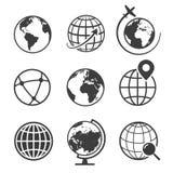 Kuli ziemskiej i ziemi geografii ikony graficzny set royalty ilustracja