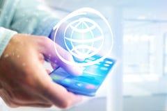 Kuli ziemskiej ikona iść out smartphone interfejs - technologii pojęcie Fotografia Stock